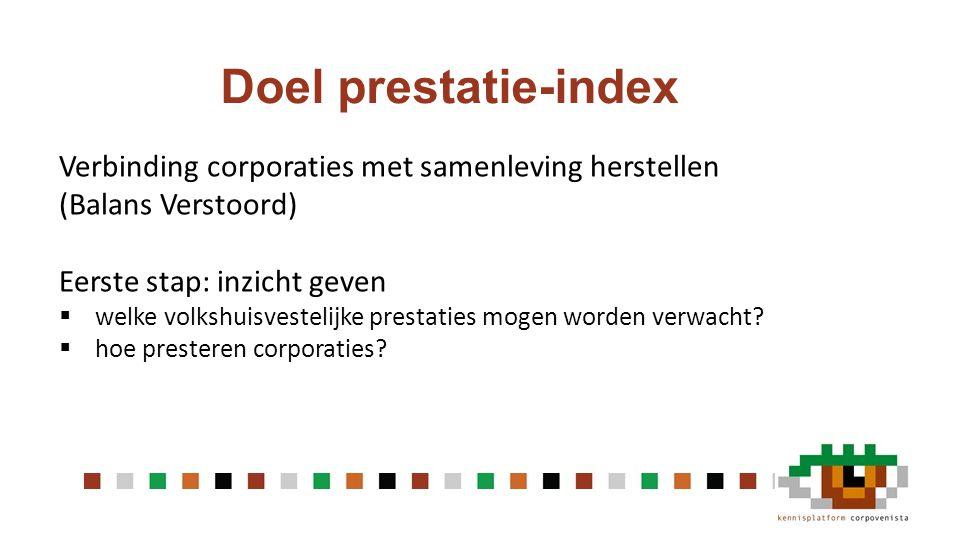 Doel prestatie-index Verbinding corporaties met samenleving herstellen (Balans Verstoord) Eerste stap: inzicht geven  welke volkshuisvestelijke prestaties mogen worden verwacht.