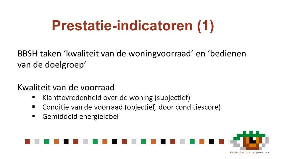 Prestatie-indicatoren (1) BBSH taken 'kwaliteit van de woningvoorraad' en 'bedienen van de doelgroep' Kwaliteit van de voorraad  Klanttevredenheid over de woning (subjectief)  Conditie van de voorraad (objectief, door conditiescore)  Gemiddeld energielabel