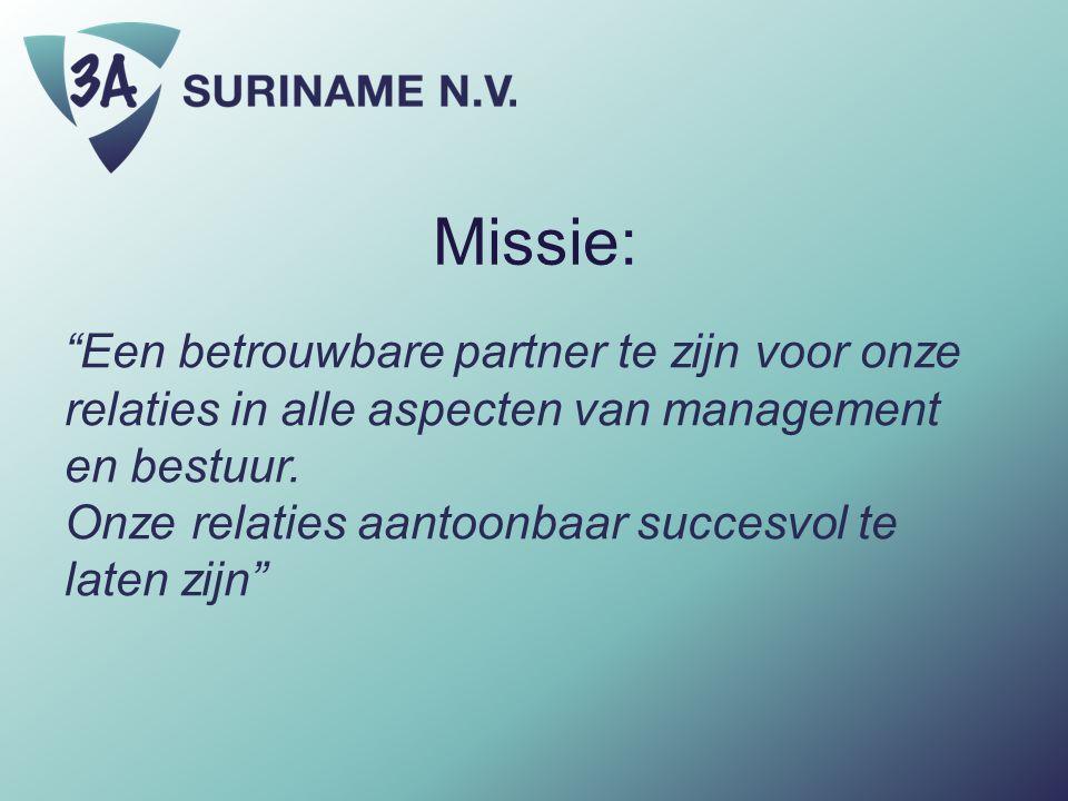 """Missie: """"Een betrouwbare partner te zijn voor onze relaties in alle aspecten van management en bestuur. Onze relaties aantoonbaar succesvol te laten z"""