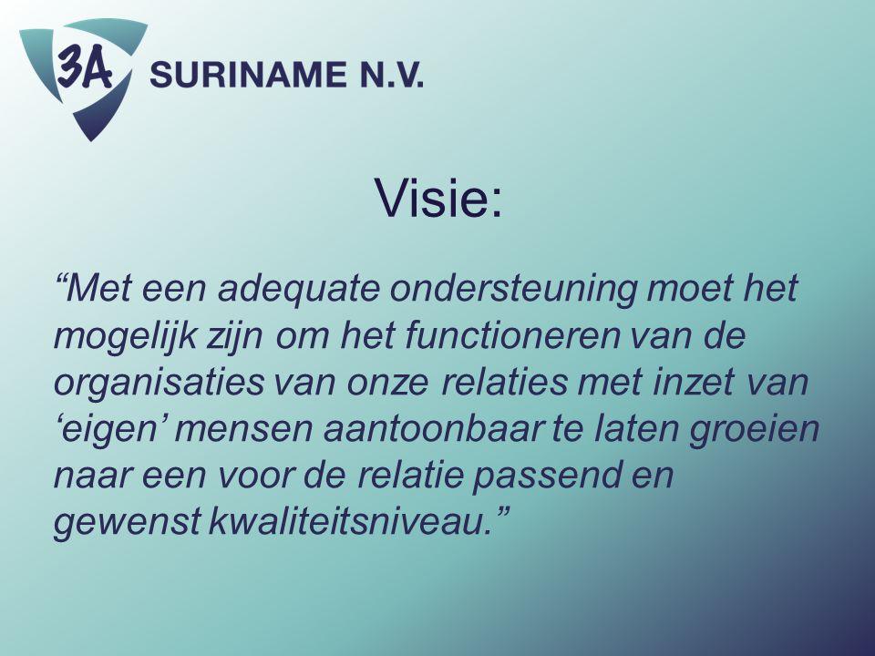 """Visie: """"Met een adequate ondersteuning moet het mogelijk zijn om het functioneren van de organisaties van onze relaties met inzet van 'eigen' mensen a"""