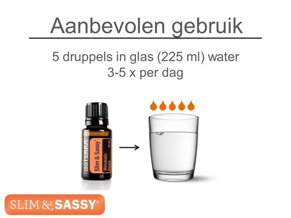 Slim & Sassy ™ Metabolic Blend Aanbevolen gebruik 5 druppels in glas (225 ml) water 3-5 x per dag  Slim & Sassy ™