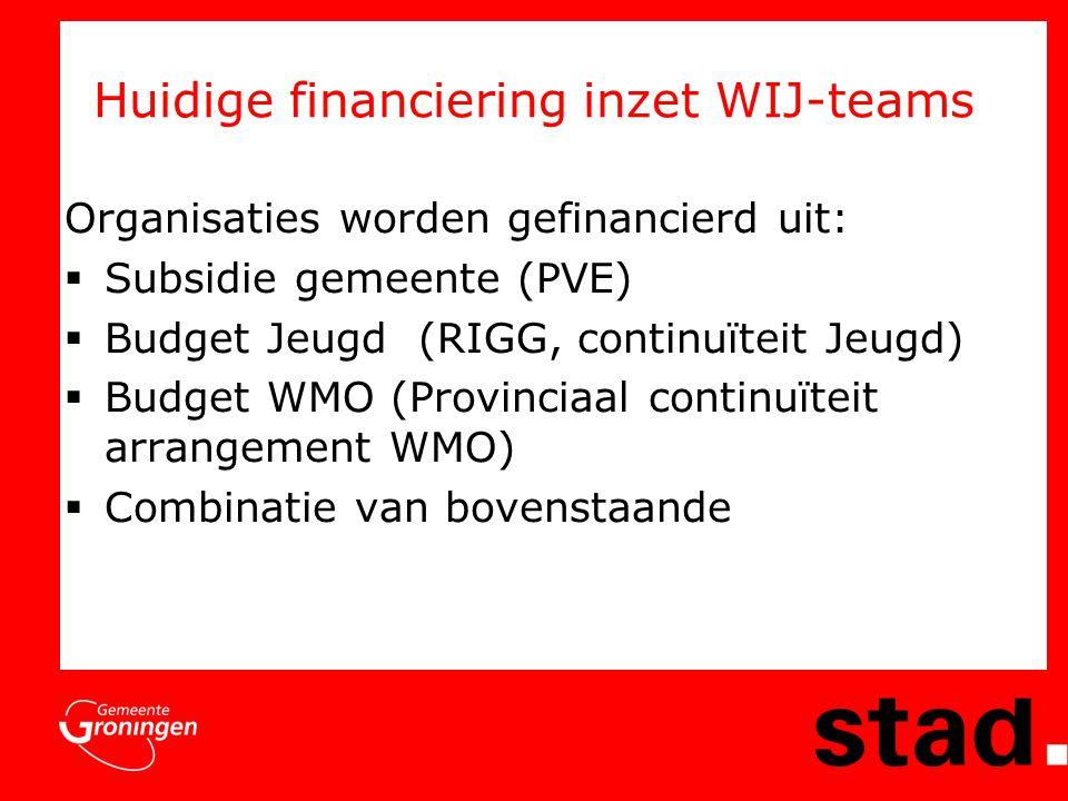 Huidige financiering inzet WIJ-teams Organisaties worden gefinancierd uit:  Subsidie gemeente (PVE)  Budget Jeugd (RIGG, continuïteit Jeugd)  Budget WMO (Provinciaal continuïteit arrangement WMO)  Combinatie van bovenstaande