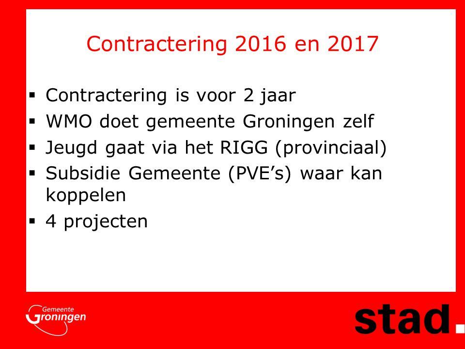 Contractering 2016 en 2017  Contractering is voor 2 jaar  WMO doet gemeente Groningen zelf  Jeugd gaat via het RIGG (provinciaal)  Subsidie Gemeente (PVE's) waar kan koppelen  4 projecten