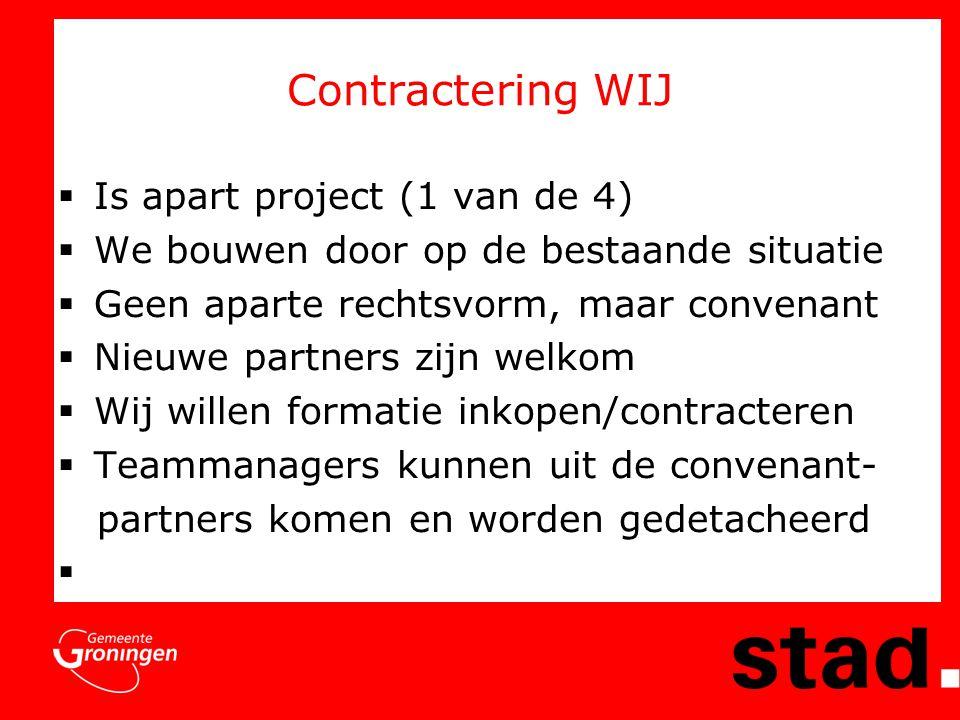 Contractering WIJ  Is apart project (1 van de 4)  We bouwen door op de bestaande situatie  Geen aparte rechtsvorm, maar convenant  Nieuwe partners zijn welkom  Wij willen formatie inkopen/contracteren  Teammanagers kunnen uit de convenant- partners komen en worden gedetacheerd 