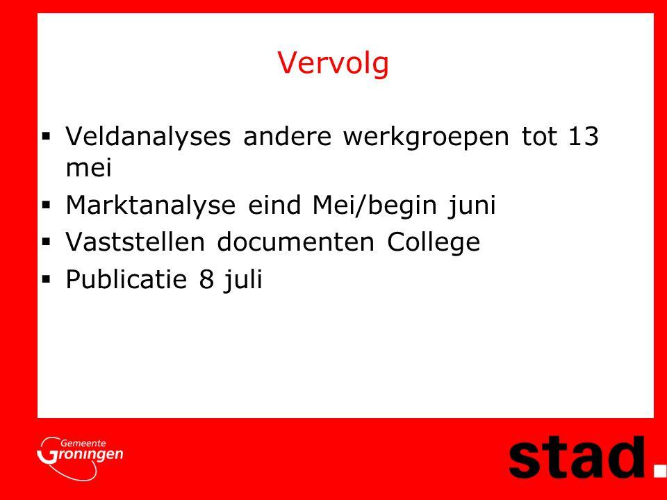 Vervolg  Veldanalyses andere werkgroepen tot 13 mei  Marktanalyse eind Mei/begin juni  Vaststellen documenten College  Publicatie 8 juli