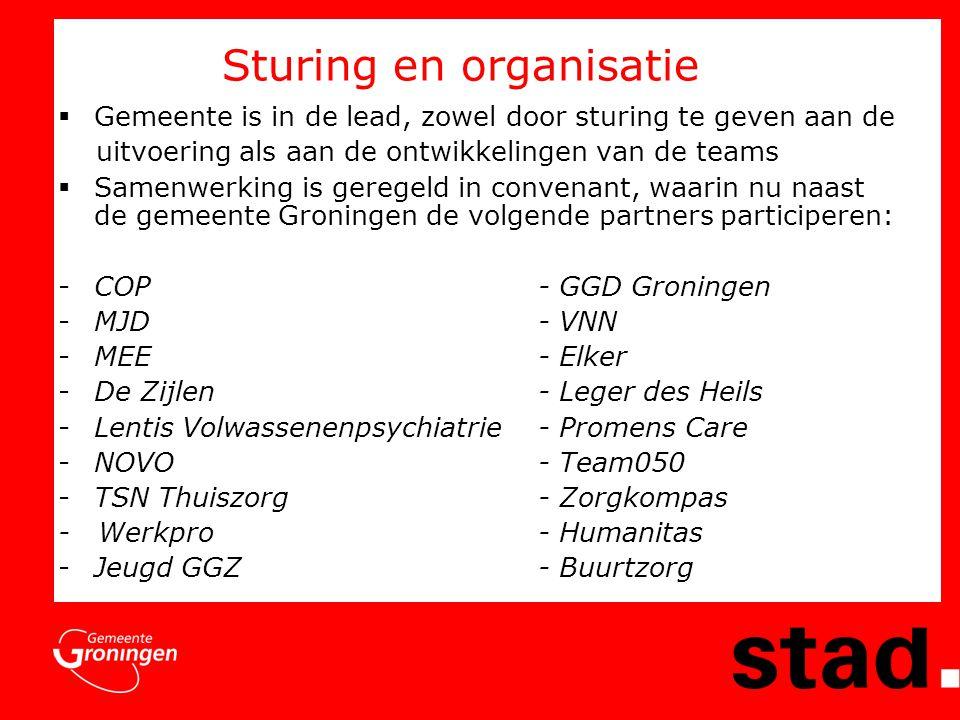 Sturing en organisatie  Gemeente is in de lead, zowel door sturing te geven aan de uitvoering als aan de ontwikkelingen van de teams  Samenwerking is geregeld in convenant, waarin nu naast de gemeente Groningen de volgende partners participeren: -COP- GGD Groningen -MJD- VNN -MEE - Elker -De Zijlen- Leger des Heils -Lentis Volwassenenpsychiatrie- Promens Care -NOVO- Team050 -TSN Thuiszorg- Zorgkompas - Werkpro- Humanitas -Jeugd GGZ- Buurtzorg