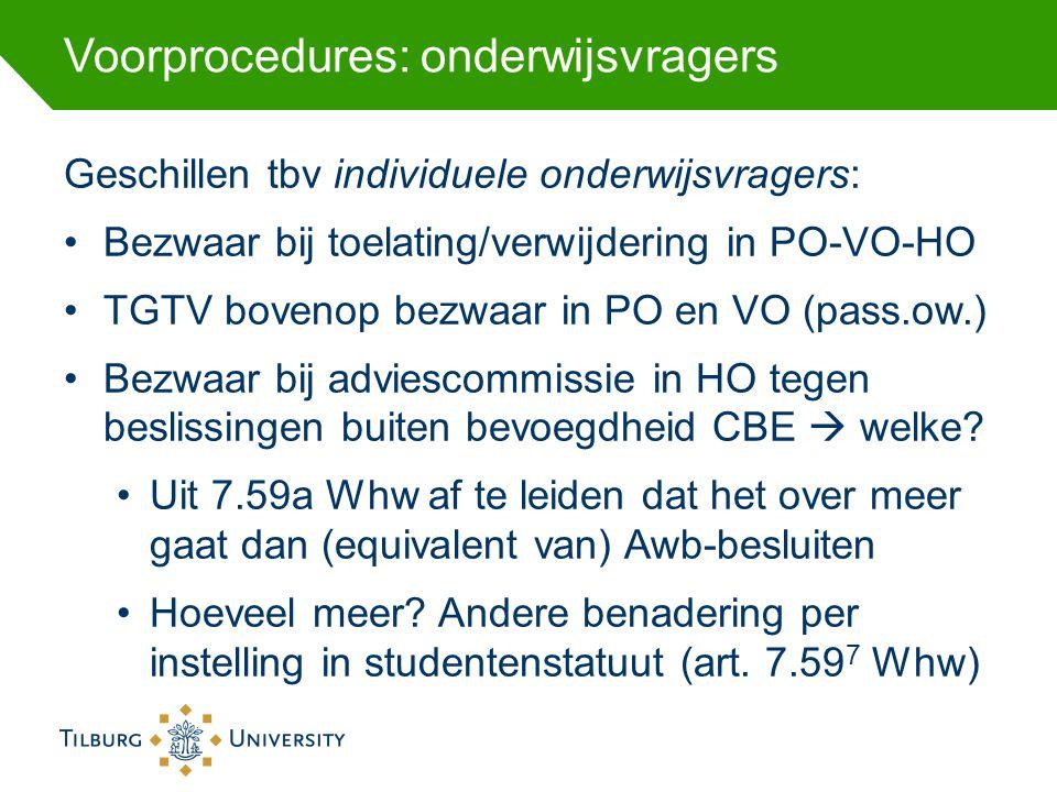 Voorprocedures: onderwijsvragers Geschillen tbv individuele onderwijsvragers: Bezwaar bij toelating/verwijdering in PO-VO-HO TGTV bovenop bezwaar in P