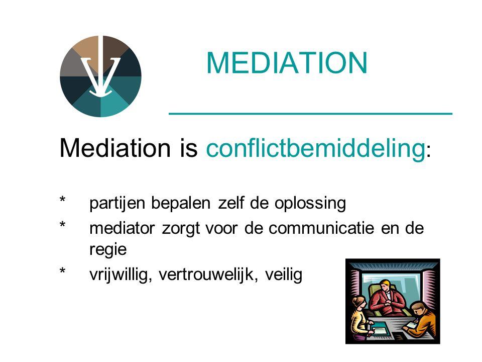 MEDIATION ____________________ Mediation is conflictbemiddeling : *partijen bepalen zelf de oplossing * mediator zorgt voor de communicatie en de regi