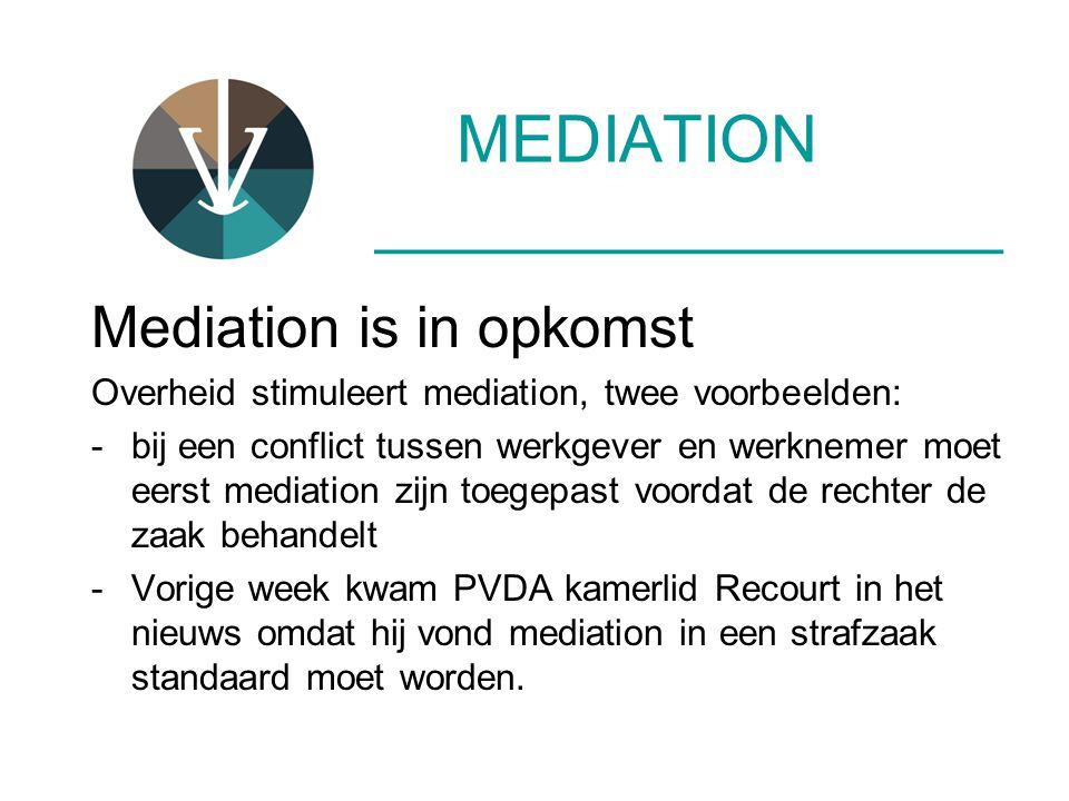 MEDIATION ____________________ Mediation is in opkomst Overheid stimuleert mediation, twee voorbeelden: -bij een conflict tussen werkgever en werkneme