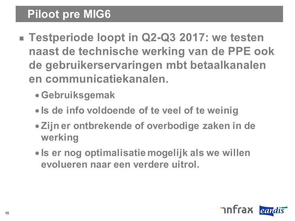 Piloot pre MIG6 Testperiode loopt in Q2-Q3 2017: we testen naast de technische werking van de PPE ook de gebruikerservaringen mbt betaalkanalen en com
