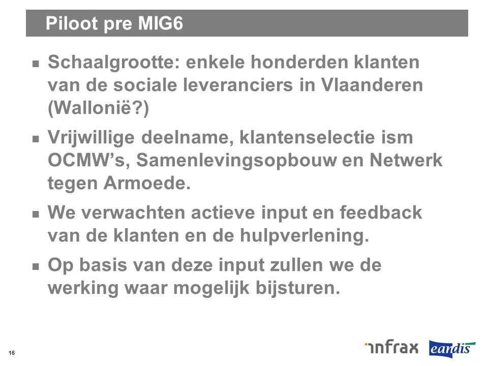 Piloot pre MIG6 Schaalgrootte: enkele honderden klanten van de sociale leveranciers in Vlaanderen (Wallonië?) Vrijwillige deelname, klantenselectie is