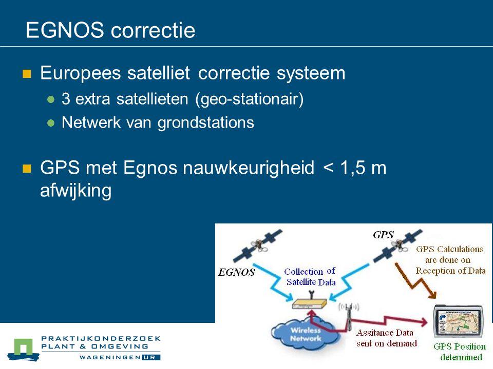 EGNOS correctie Europees satelliet correctie systeem 3 extra satellieten (geo-stationair) Netwerk van grondstations GPS met Egnos nauwkeurigheid < 1,5