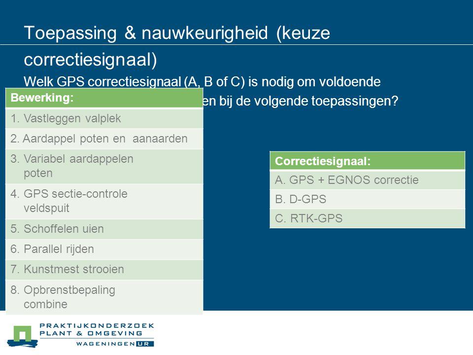 Toepassing & nauwkeurigheid (keuze correctiesignaal) Welk GPS correctiesignaal (A, B of C) is nodig om voldoende nauwkeurig de positie te bepalen bij