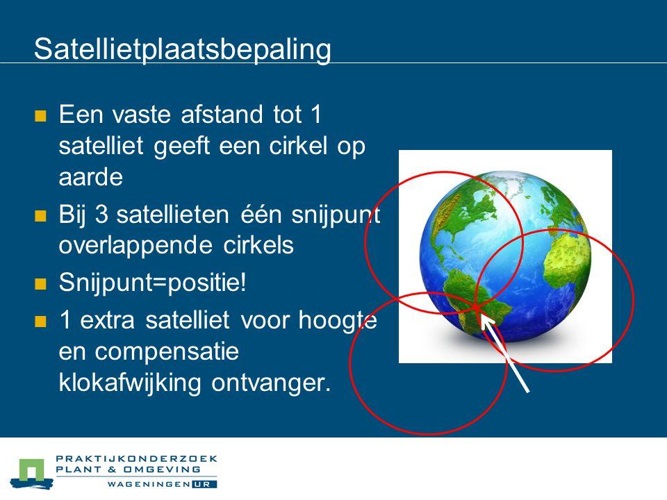 Een vaste afstand tot 1 satelliet geeft een cirkel op aarde Bij 3 satellieten één snijpunt overlappende cirkels Snijpunt=positie! 1 extra satelliet vo