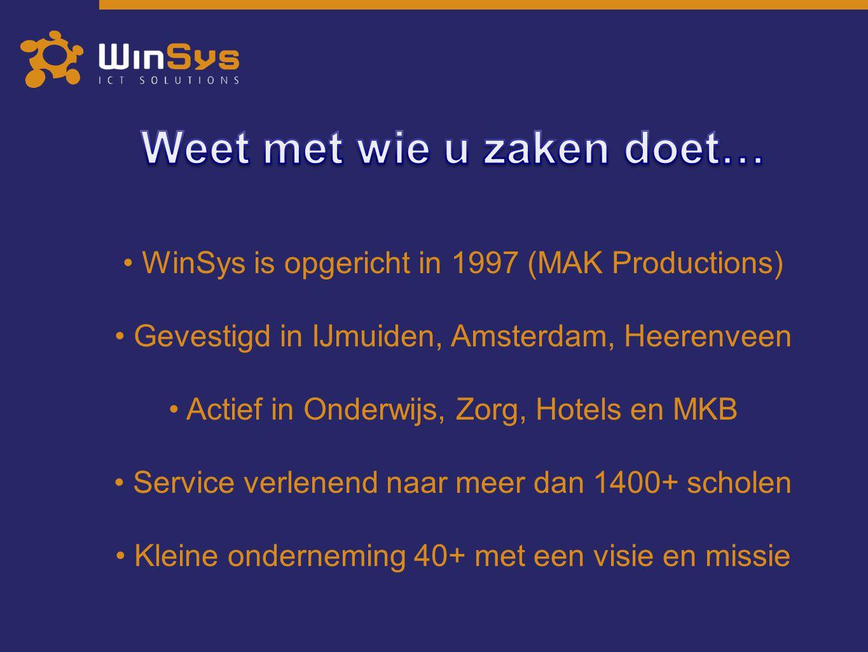 WinSys is opgericht in 1997 (MAK Productions) Gevestigd in IJmuiden, Amsterdam, Heerenveen Actief in Onderwijs, Zorg, Hotels en MKB Service verlenend