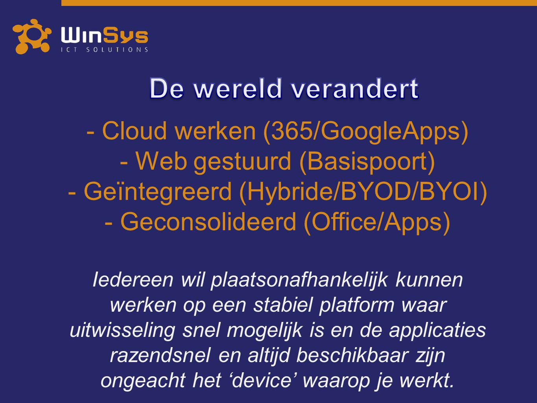 - Cloud werken (365/GoogleApps) - Web gestuurd (Basispoort) - Geïntegreerd (Hybride/BYOD/BYOI) - Geconsolideerd (Office/Apps) Iedereen wil plaatsonafh