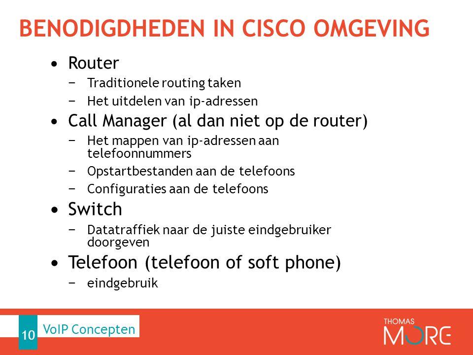 BENODIGDHEDEN IN CISCO OMGEVING Router − Traditionele routing taken − Het uitdelen van ip-adressen Call Manager (al dan niet op de router) − Het mappen van ip-adressen aan telefoonnummers − Opstartbestanden aan de telefoons − Configuraties aan de telefoons Switch − Datatraffiek naar de juiste eindgebruiker doorgeven Telefoon (telefoon of soft phone) − eindgebruik 10 VoIP Concepten