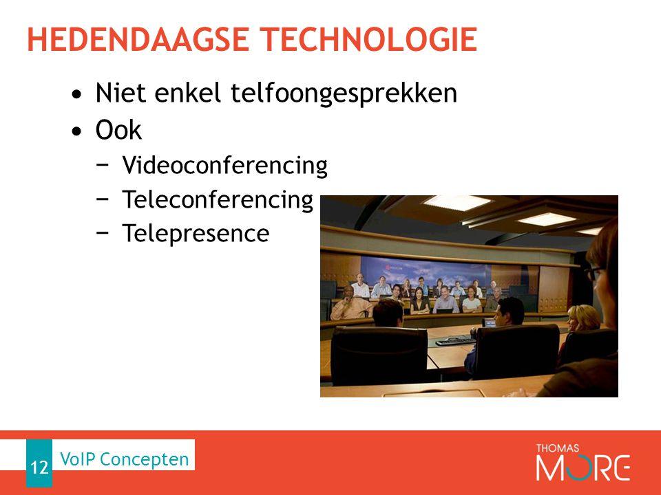 HEDENDAAGSE TECHNOLOGIE Niet enkel telfoongesprekken Ook − Videoconferencing − Teleconferencing − Telepresence 12 Workshop VoIP VoIP Concepten
