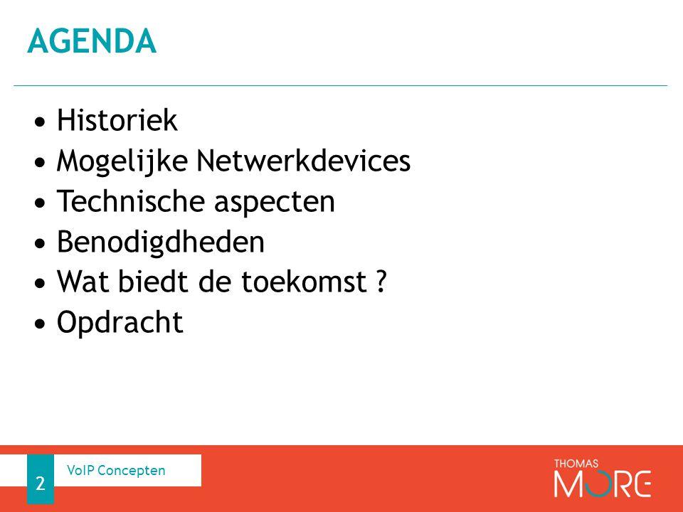Historiek Mogelijke Netwerkdevices Technische aspecten Benodigdheden Wat biedt de toekomst ? Opdracht AGENDA 2 VoIP Concepten