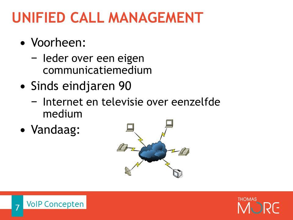 UNIFIED CALL MANAGEMENT Voorheen: − Ieder over een eigen communicatiemedium Sinds eindjaren 90 − Internet en televisie over eenzelfde medium Vandaag: 7 VoIP Concepten