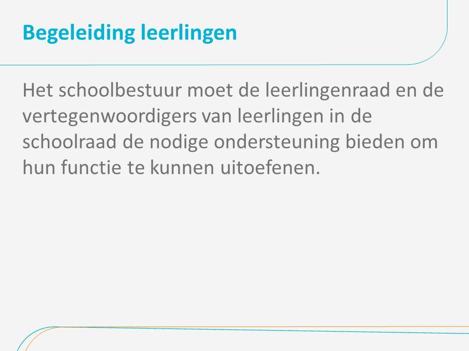 Begeleiding leerlingen Het schoolbestuur moet de leerlingenraad en de vertegenwoordigers van leerlingen in de schoolraad de nodige ondersteuning biede