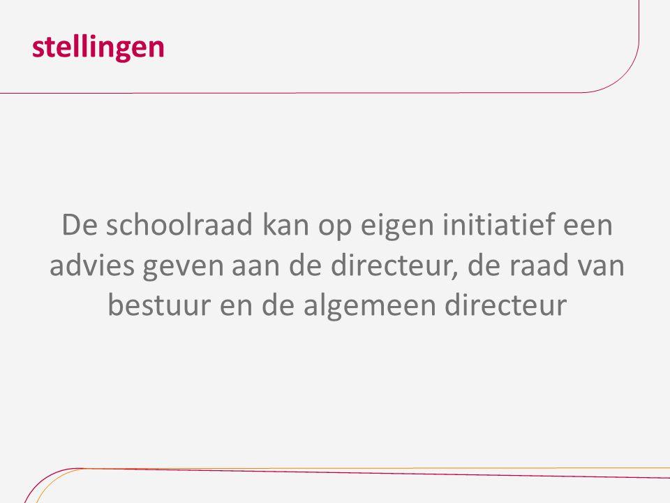 stellingen De schoolraad kan op eigen initiatief een advies geven aan de directeur, de raad van bestuur en de algemeen directeur