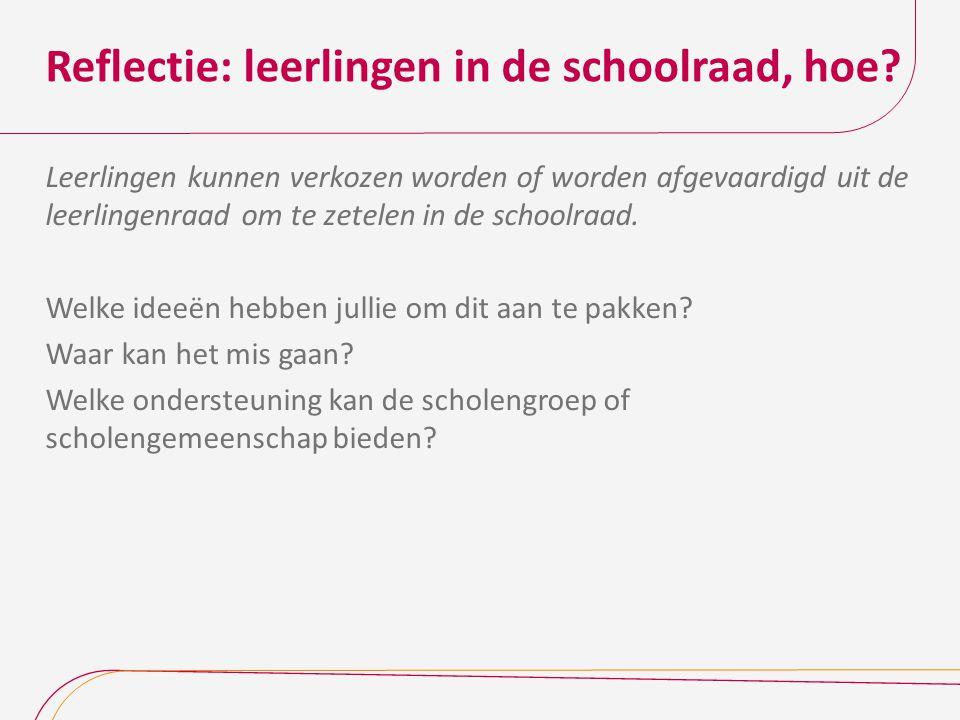 Reflectie: leerlingen in de schoolraad, hoe? Leerlingen kunnen verkozen worden of worden afgevaardigd uit de leerlingenraad om te zetelen in de school