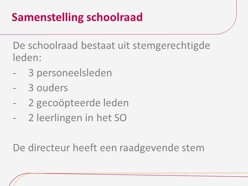 Samenstelling schoolraad De schoolraad bestaat uit stemgerechtigde leden: -3 personeelsleden -3 ouders -2 gecoöpteerde leden -2 leerlingen in het SO D
