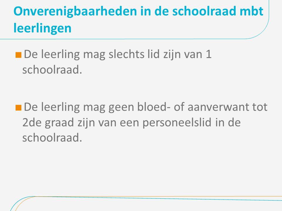 Onverenigbaarheden in de schoolraad mbt leerlingen  De leerling mag slechts lid zijn van 1 schoolraad.  De leerling mag geen bloed- of aanverwant to