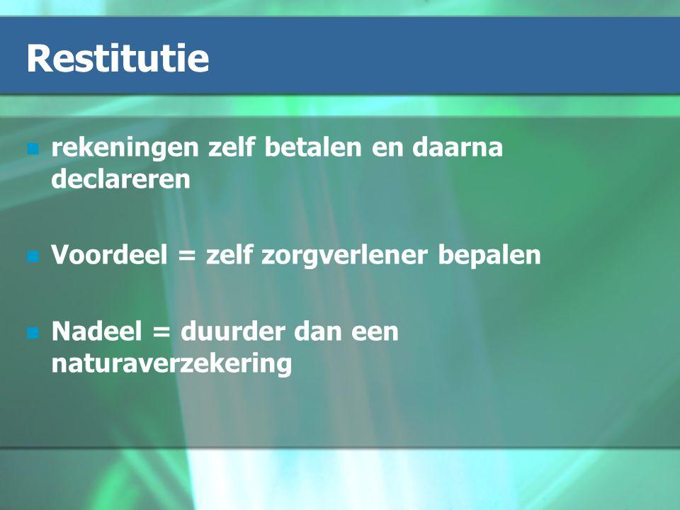 Restitutie rekeningen zelf betalen en daarna declareren Voordeel = zelf zorgverlener bepalen Nadeel = duurder dan een naturaverzekering
