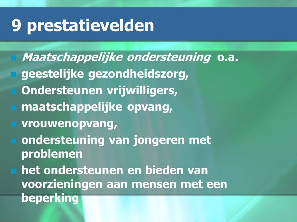 9 prestatievelden Maatschappelijke ondersteuning o.a.