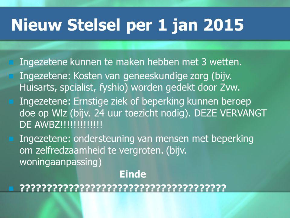Nieuw Stelsel per 1 jan 2015 Ingezetene kunnen te maken hebben met 3 wetten.