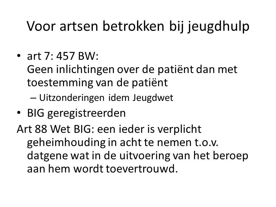 Voor artsen betrokken bij jeugdhulp art 7: 457 BW: Geen inlichtingen over de patiënt dan met toestemming van de patiënt – Uitzonderingen idem Jeugdwet