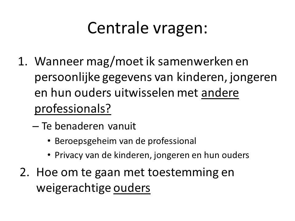 Centrale vragen: 1.Wanneer mag/moet ik samenwerken en persoonlijke gegevens van kinderen, jongeren en hun ouders uitwisselen met andere professionals?