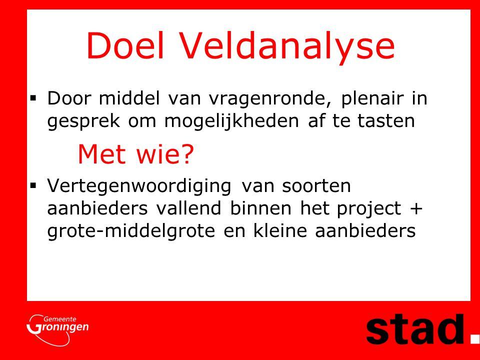 Doel Veldanalyse  Door middel van vragenronde, plenair in gesprek om mogelijkheden af te tasten Met wie.