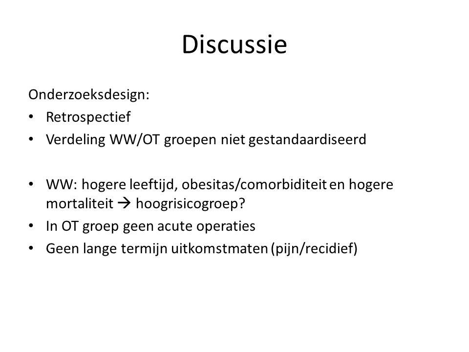 Discussie Onderzoeksdesign: Retrospectief Verdeling WW/OT groepen niet gestandaardiseerd WW: hogere leeftijd, obesitas/comorbiditeit en hogere mortali