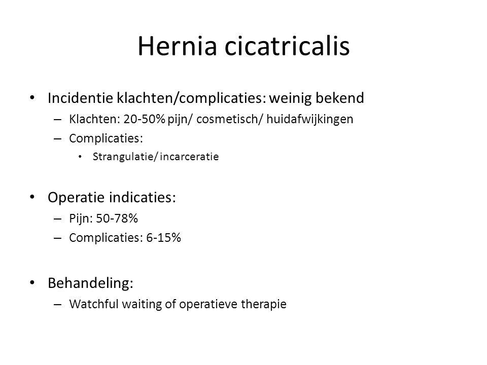 Hernia cicatricalis Incidentie klachten/complicaties: weinig bekend – Klachten: 20-50% pijn/ cosmetisch/ huidafwijkingen – Complicaties: Strangulatie/