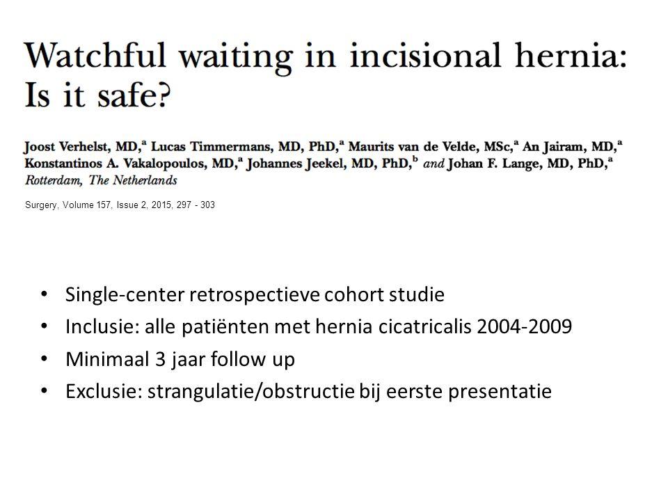 Single-center retrospectieve cohort studie Inclusie: alle patiënten met hernia cicatricalis 2004-2009 Minimaal 3 jaar follow up Exclusie: strangulatie