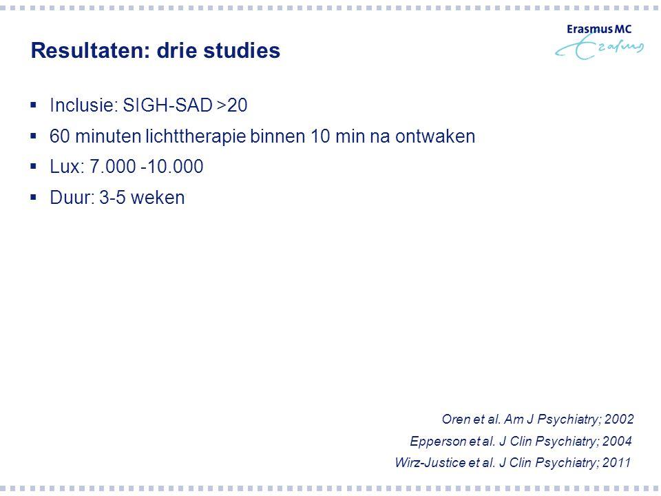 Resultaten: drie studies  Inclusie: SIGH-SAD >20  60 minuten lichttherapie binnen 10 min na ontwaken  Lux: 7.000 -10.000  Duur: 3-5 weken Oren et