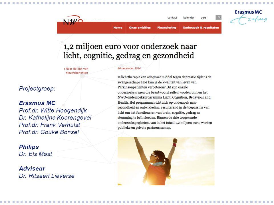 Projectgroep: Erasmus MC Prof.dr. Witte Hoogendijk Dr. Kathelijne Koorengevel Prof.dr. Frank Verhulst Prof.dr. Gouke Bonsel Philips Dr. Els Møst Advis