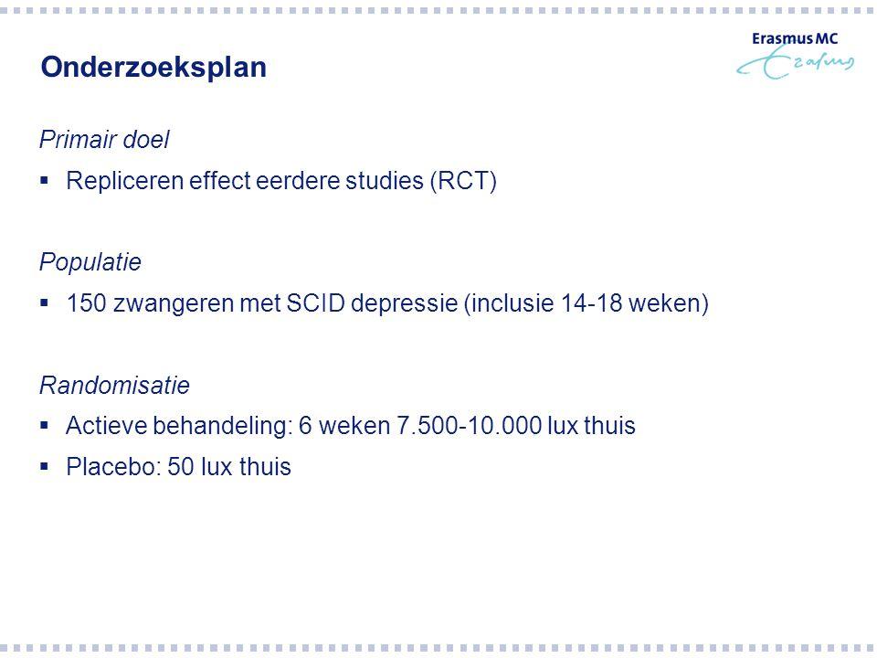 Onderzoeksplan Primair doel  Repliceren effect eerdere studies (RCT) Populatie  150 zwangeren met SCID depressie (inclusie 14-18 weken) Randomisatie
