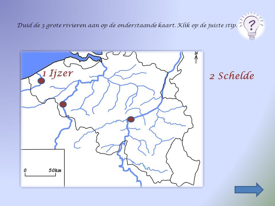 Duid de 3 grote rivieren aan op de onderstaande kaart. Klik op de juiste stip. 1 Ijzer