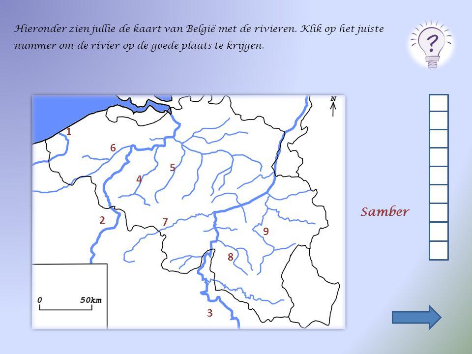 Duid de 3 grote rivieren aan op de onderstaande kaart. Klik op de juiste stip. 3 Maas 1 Ijzer 2 Schelde