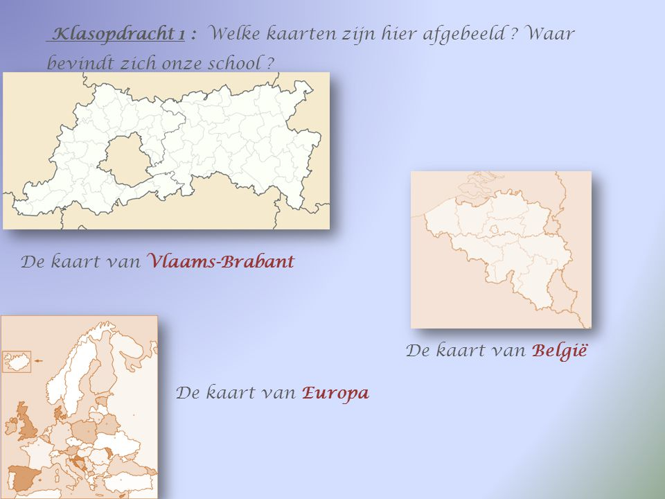 Opdracht 1 : Vul in Ik woon in Teralfene, dat is een deelgemeente van Affligem. Affligem behoort tot de provincie Vlaams-Brabant, onder het arrondisem
