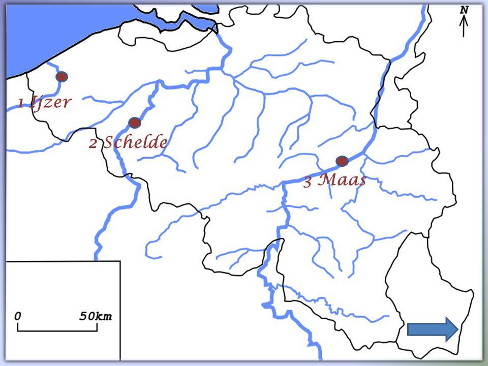 In België zijn drie grote rivieren. Dat zijn de Ijzer, de Schelde en de Maas. Duo-opdracht 6 : Zoek deze rivieren op in de atlas. Duid ze nadien aan o