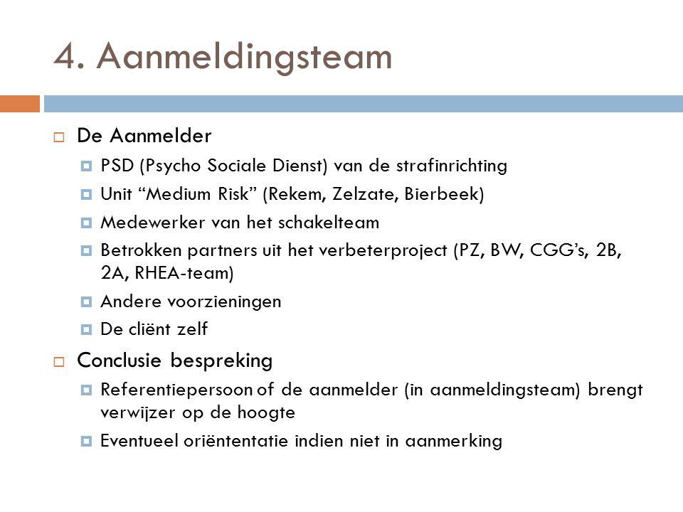 """4. Aanmeldingsteam  De Aanmelder  PSD (Psycho Sociale Dienst) van de strafinrichting  Unit """"Medium Risk"""" (Rekem, Zelzate, Bierbeek)  Medewerker va"""