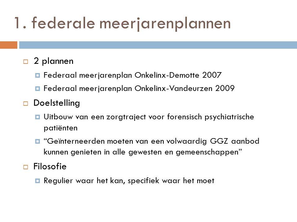 1. federale meerjarenplannen  2 plannen  Federaal meerjarenplan Onkelinx-Demotte 2007  Federaal meerjarenplan Onkelinx-Vandeurzen 2009  Doelstelli