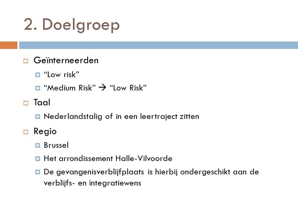 """2. Doelgroep  Geïnterneerden  """"Low risk""""  """"Medium Risk""""  """"Low Risk""""  Taal  Nederlandstalig of in een leertraject zitten  Regio  Brussel  Het"""