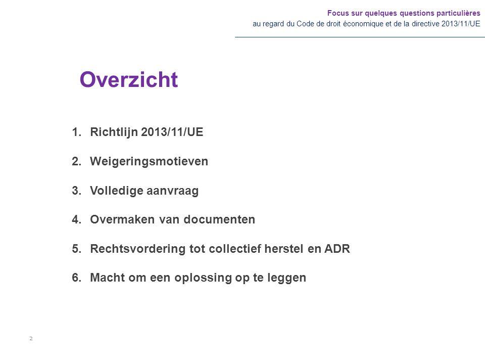 1.Richtlijn 2013/11/UE 2.Weigeringsmotieven 3.Volledige aanvraag 4.Overmaken van documenten 5.