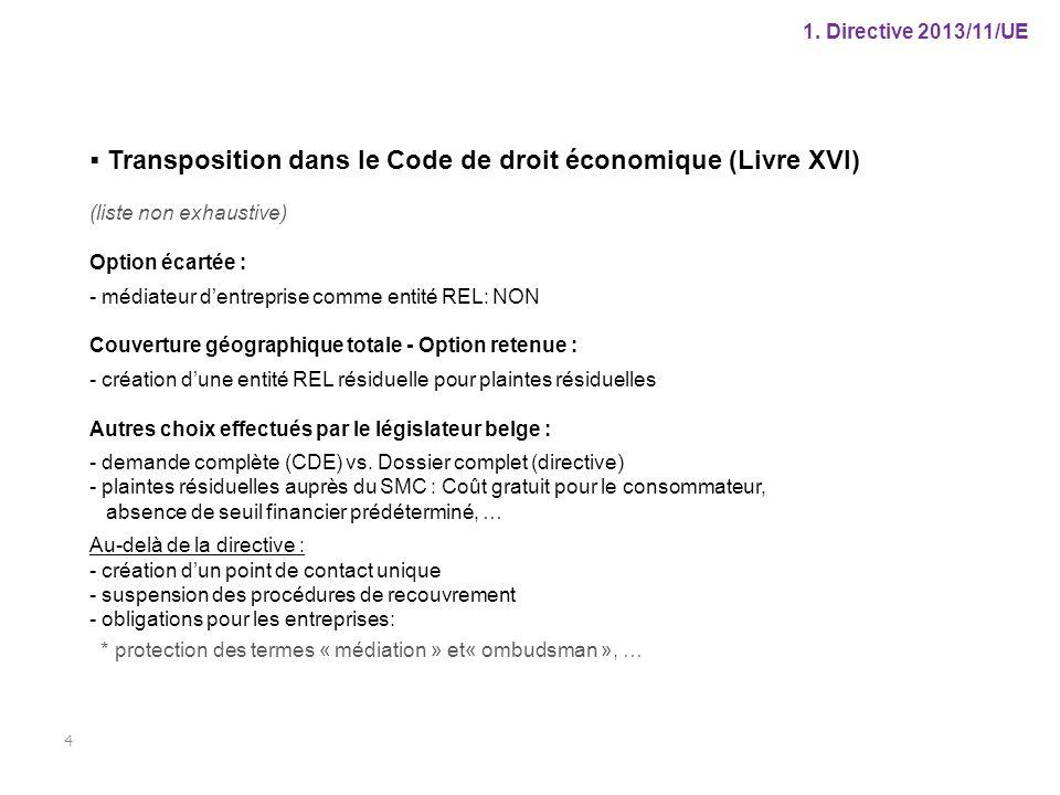 1. Directive 2013/11/UE 4  Transposition dans le Code de droit économique (Livre XVI) (liste non exhaustive) Option écartée : - médiateur d'entrepris